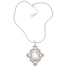 Vintage Swarovski White Diamond Crystal Pendant Necklace, Rhodium Plated, Nickel Free