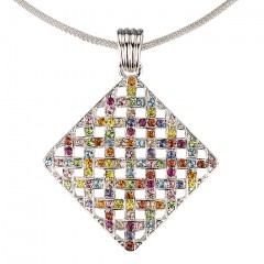 Multi Coloured Pendant Necklace Swarovski Crystal Cluster Diamond