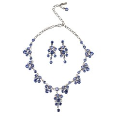Blue Crystal Necklace and Earrings Set, Chandelier Drop, Tanzanite & Tanzanite AB Swarovski Crystals