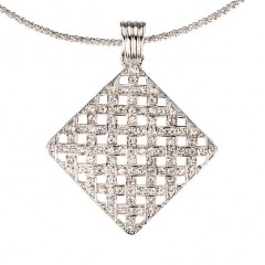 White Diamond Swarovski Crystal Cluster Diamond Pendant Necklace