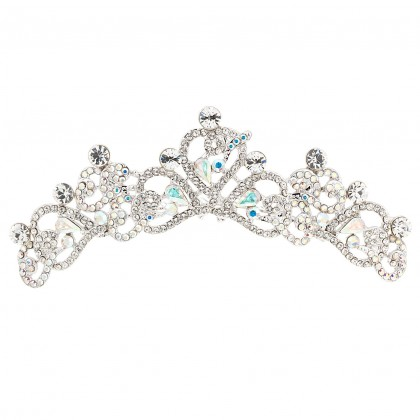 Heart Hair Comb Tiara with AB and Clear Swarovski Crystals