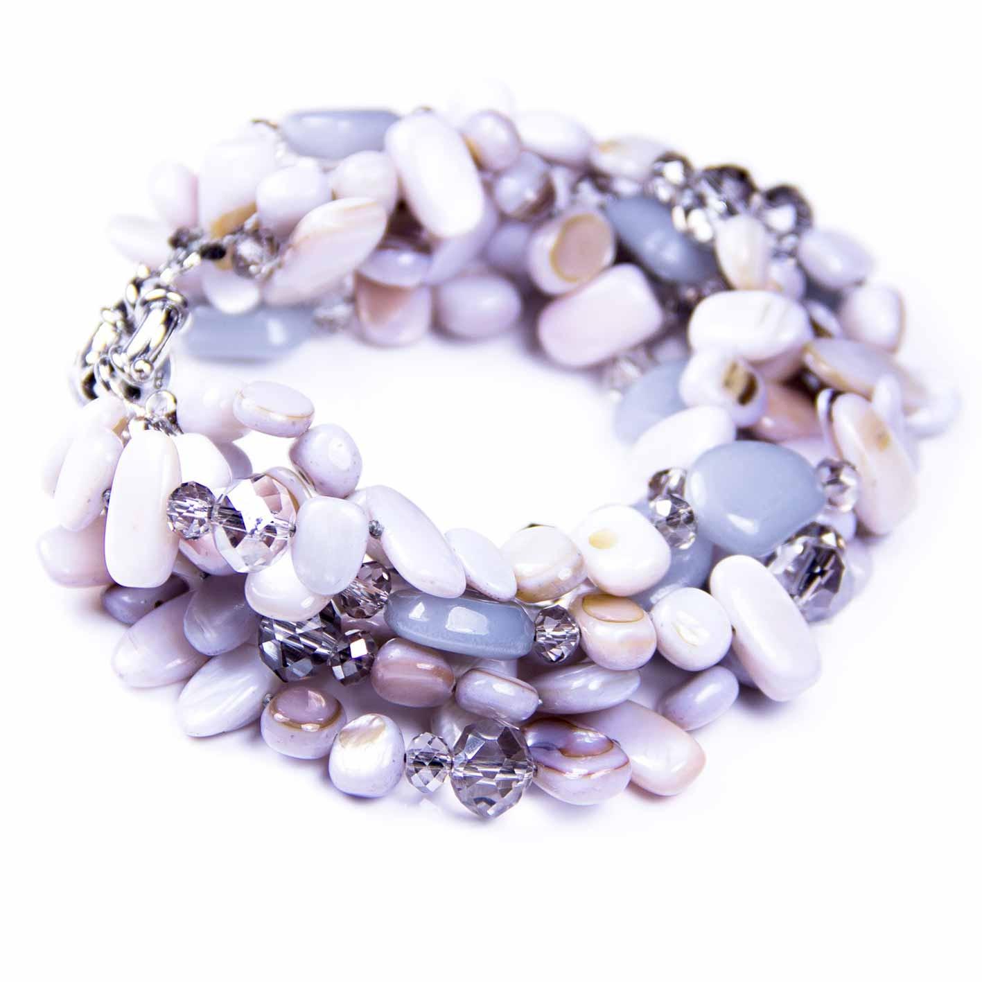 Swarovski Crystal 6 Stranded Light Grey Shell Crystals