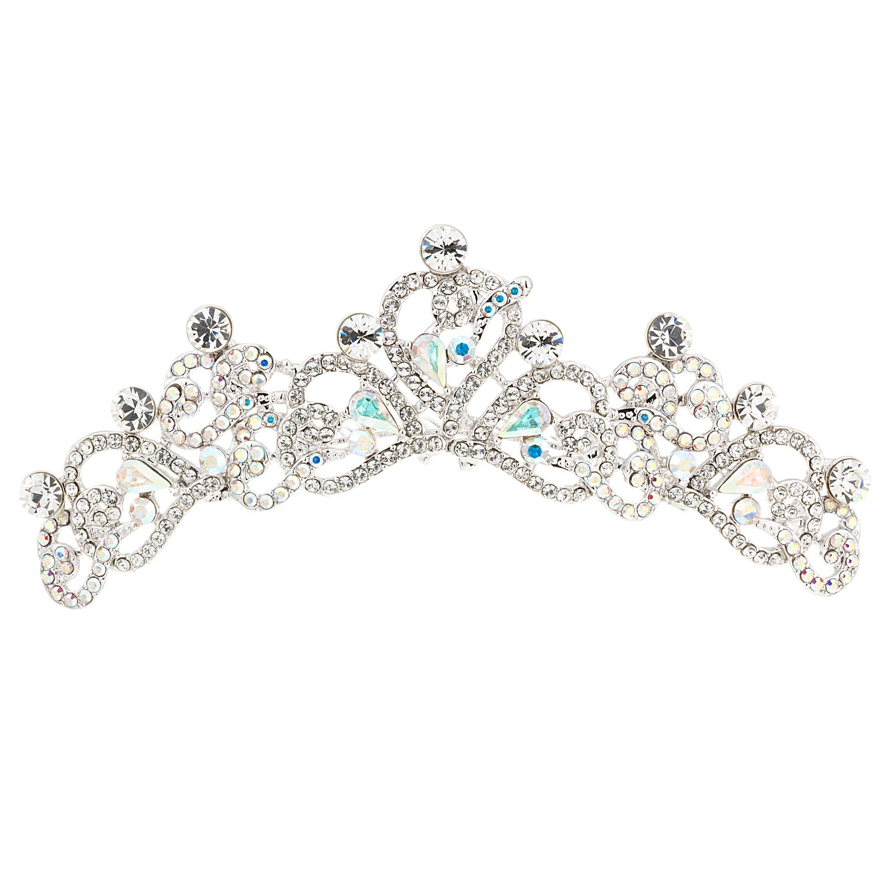 Swarovski Crystal Heart Hair Comb Tiara With Ab And Clear